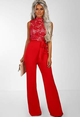 b9d99d6efea Pink Boutique Bronx Beauty Red Lace Tie Waist Wide Leg Jumpsuit