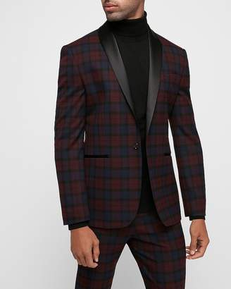 Express Slim Burgundy Plaid Tuxedo Jacket