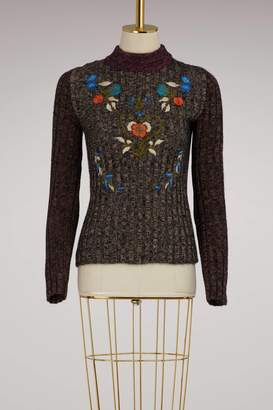 RED Valentino Sweater with Embroidered Flowers