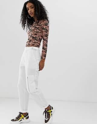 Asos Design DESIGN white combat pants in ripstock