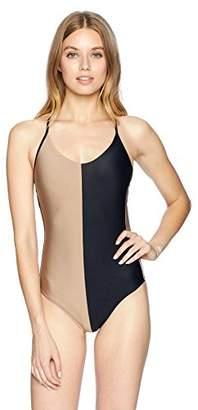 Pilyq Women's Black and Tan Color Block Farrah One Piece Swimsuit