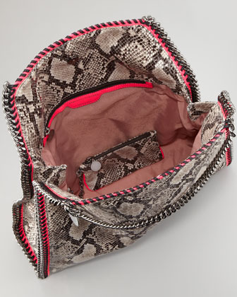 Stella McCartney Falabella Large Snake-Print Tote Bag, Gray