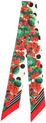 Dolce & Gabbana (ドルチェ & ガッバーナ) - DOLCE & GABBANA スモール ゼラニウムプリント シルクボウタイスカーフ