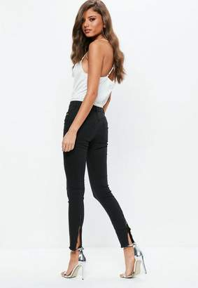 Missguided Black Anarchy Mid Rise Zipped Hem Skinny Jeans