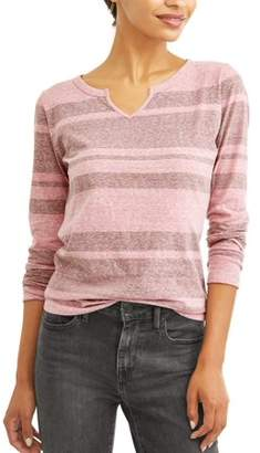 Time and Tru Women's Long Sleeve Notch Neck T-Shirt
