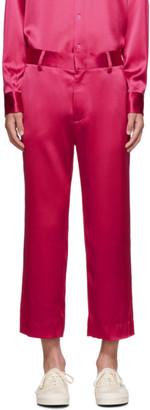 Sies Marjan Pink Crinkled Satin Cropped Alex Trousers
