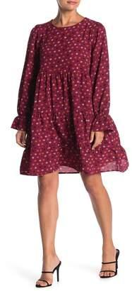 GOOD LUCK GEM Ditsy Print Long Sleeve Babydoll Dress