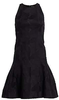 Halston Women's Floral Jacquard Sleeveless Flounce Dress