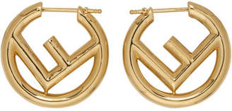 Fendi Gold Small F is Hoop Earrings