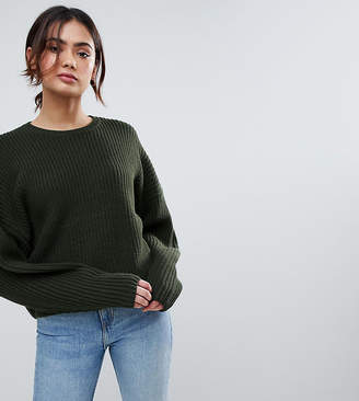 Asos Tall Chunky Sweater In Crop With Volume Sleeve