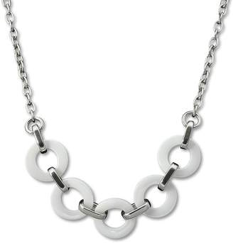 Amello stainless steel necklace ring with white ceramic elements