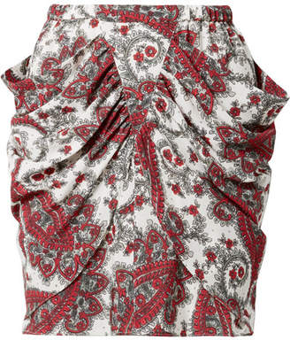 Isabel Marant Tilena Draped Printed Crepe De Chine Mini Skirt - Red