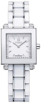 Fendi 25mm Ceramic, Diamond & Stainless Steel Square Watch, White
