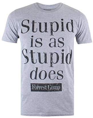 Forrest Gump Men's Stupid is T-Shirt, (Grey Marl SPO)