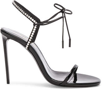 Saint Laurent Crystal Embellished Patent Leather Robin Sandals