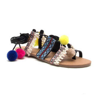Qupid Pom Pom Lace Up Sandal