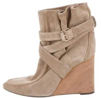 Balenciaga Suede Wedge Ankle Boots Beige Suede Wedge Ankle Boots