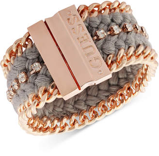 GUESS Rose Gold-Tone Crystal & Braided Thread Magnetic Bracelet