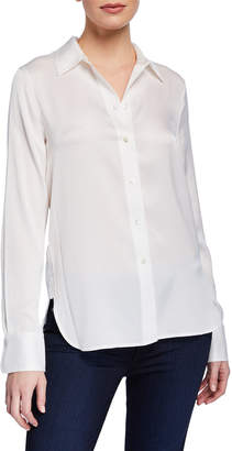 Vince Button-Down Fitted Blouse