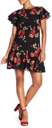 Eva Franco Lotus Floral Embroidered Flutter Sleeve Dress