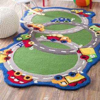 nuLoom Kinder Traffic Time Green Area Rug Rug