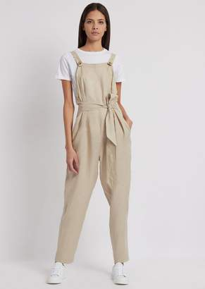 Emporio Armani Linen Dungarees With Matching Belt
