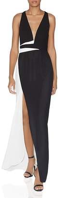 Halston Color-Blocked Side-Slit Gown