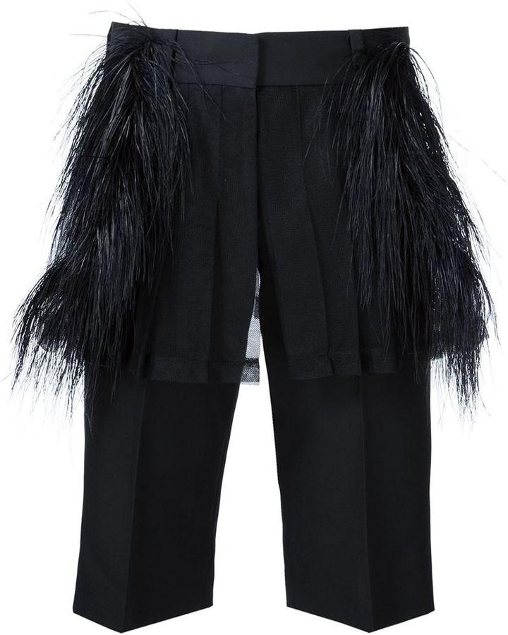 Vera WangVera Wang ostrich feather tailored shorts