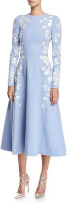 Oscar de la Renta Long-Sleeve Jewel-Neck Floral-Embroidered Midi Daytime Dress