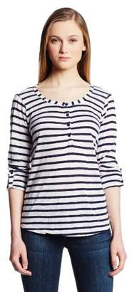 Splendid Women's Navy Classic Venice Stripe Tunic Long Sleeve Shirt,(Manufacturer Size:Medium)