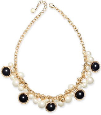 """Charter Club Gold-Tone Pave, Imitation Pearl & Bead Shaky Collar Necklace, 17"""" + 2"""" extender"""