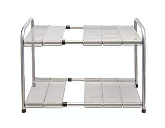 Venoly Expandable Under Sink Organizer - 2 Tier Storage Rack with Movable and Customizeable Shelves to Make Space for Pipes - Carbon Steel