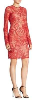 Naeem Khan Long Sleeve Beaded Dress