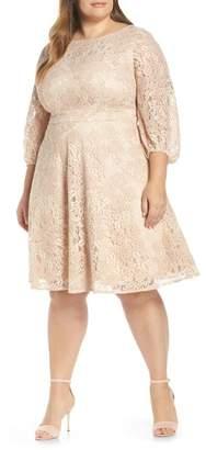 a0285dfc19f Eliza J Boatneck Lace Fit   Flare Dress (Plus Size)