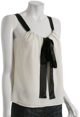 Michael Kors ivory silk chiffon satin bow blouse