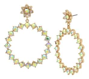 "Betsey Johnson Flower & Stone Gypsy Extra Large 3"" Large Hoop Earrings"