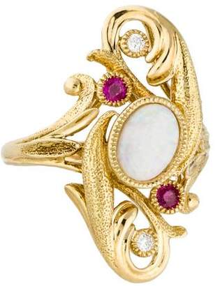 Ring 18K Opal, Ruby & Diamond Cocktail
