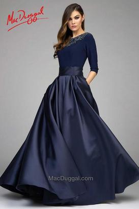 Mac Duggal Couture - 80682 3/4 Sleeve Gown In Midnight Blue $798 thestylecure.com