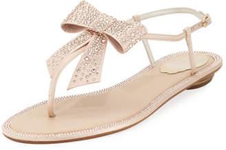 Rene Caovilla Embellished Satin Flat Bow Sandal