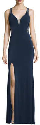 La Femme Sleeveless V-Neck Lace Illusion Gown, Navy $338 thestylecure.com