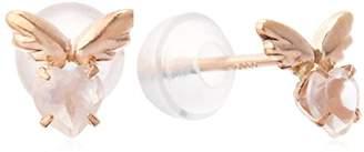 Candy (キャンディ) - [キャンディ] Candy K10ピンクゴールド ローズクォーツ 天使の羽ピアス Aekss-rqz-pg