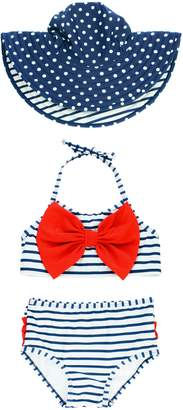 RuffleButts Stripe Two-Piece Swimsuit & Reversible Sun Hat Set