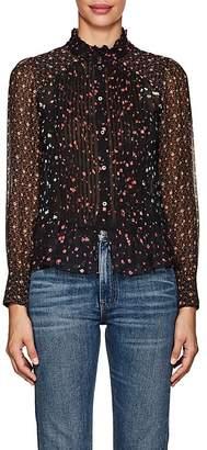 Masscob Women's Floral Silk Chiffon Blouse