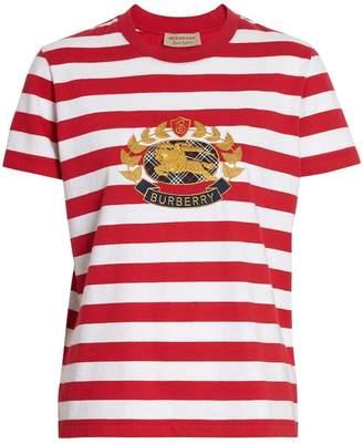 Burberry Crest Appliqué Striped Cotton T-shirt
