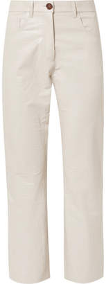 Nanushka - Ivy Cropped Croc-effect Vegan Leather Straight-leg Pants - Cream