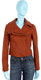Helmut Lang Leather Moto Jacket- Red Rock