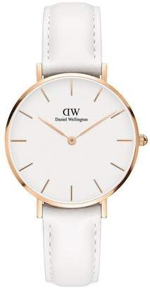 Daniel Wellington Classic Petite Bondi Rose Gold White Face 32mm Case White Leather Strap Ladies Watch