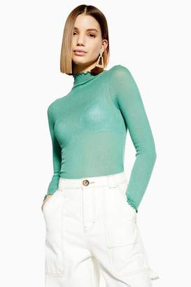 Topshop Long Sleeve Lettuce Ribbed Funnel Top