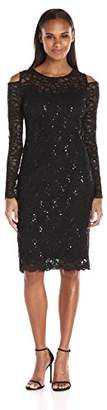 Tiana B Women's Long Sleeve Cold Shoulder Floral Sequin Scallop Lace
