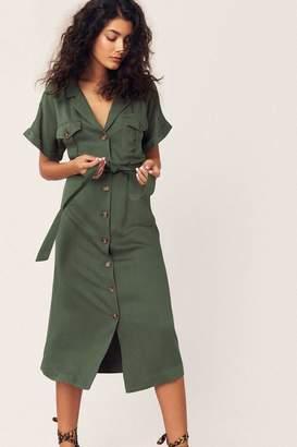 Oasis Womens Green Safari Dress - Green